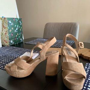 Steve Madden Platform Sandals Tan Suede